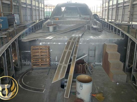 Bauarbeiten an der 40m Superyacht Phoenix 130 im Gange