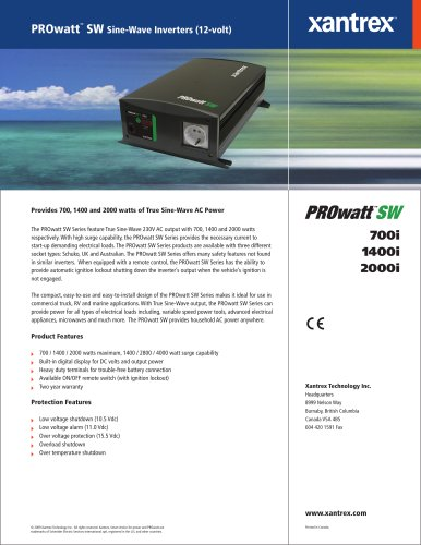 PROwatt TM  SW Sine-Wave Inverters (12-volt)