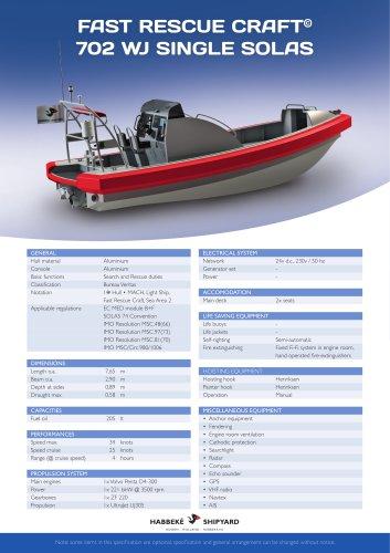 Fast Rescue Craft 702 WJ single solas