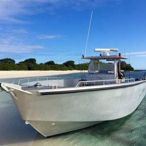 Außenbord-Runabout / zweimotorig / Mittelkonsole / Sportfischer