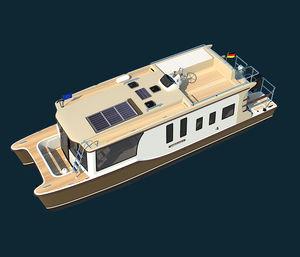 Katamaran-Hausboot / Außenbord / Flybridge / Trawler