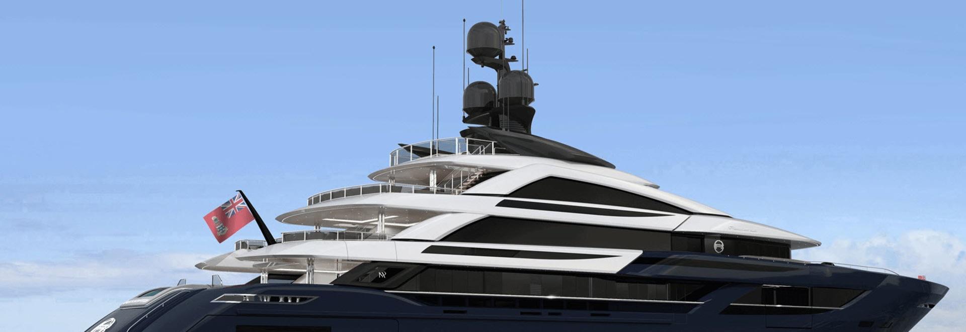 Das Innere des Designs einer eingebauten 65-Meter ISA Classic-Yacht