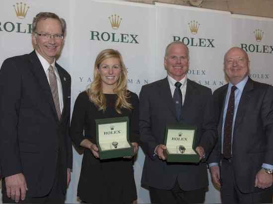 US-Segeln-Präsident Tom Hubbell, RolexYachtswoman des Jahres Stephanie Roble, Rolex-Sportsegler des Jahres Terry Hutchinson und Stewart Wicht, Präsident u. CEO der Rolex-Uhr USA