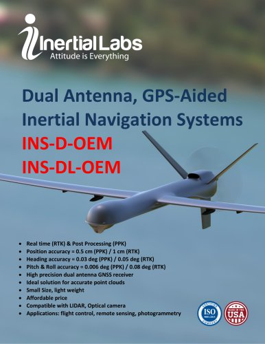 INS-D-OEM/INS-DL-OEM: OEM versions of Dual Antenna GNSS-aided Inertial Navigation Systems