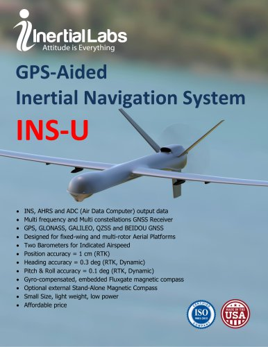 INS-U — Low Cost GPS-Aided Inertial Navigation System with uBlox Receiver and miniAHRS