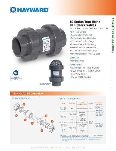 "TC Series True Union Ball Check Valves 1/4"" - 6"" PVC, 1/2"" - 6"" CPVC AND"