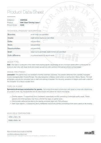 OAK CLEAR CARVING LIPSO I Product Data Sheet