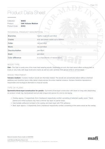 OAK VULCANO MEDIUM Product Data Sheet