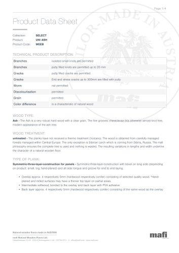 UNI ASH - Product Data Sheet