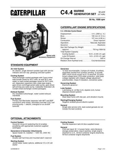 Cat C4-4 Heat Exchanger - Keel Cooled Spec Sheets