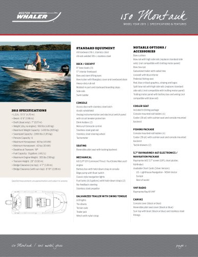 150 Montauk Specifications - 2015