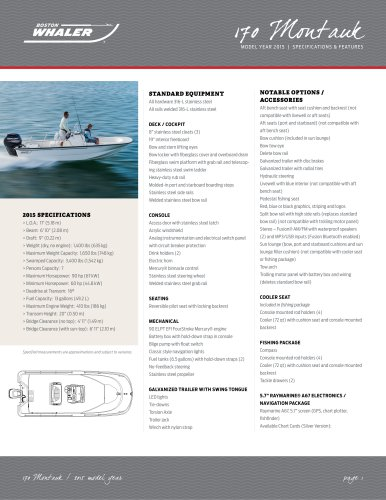 170 Montauk Specifications - 2015