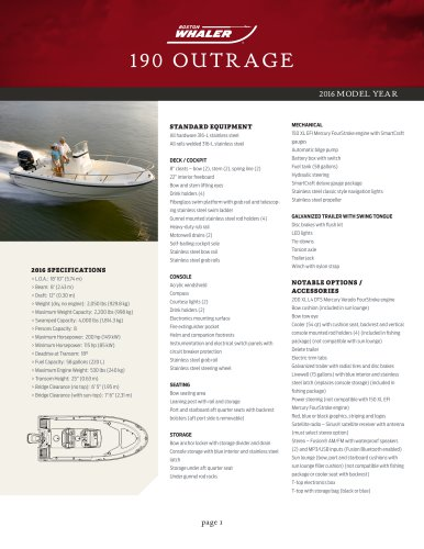 190 OUTRAGE Specifications 2016