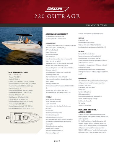 220 OUTRAGE Specifications 2016