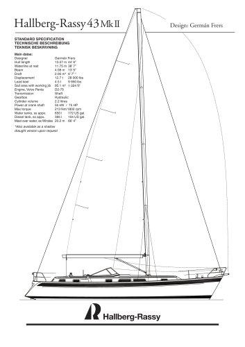 Hallberg-Rassy 43 Mk II Standard specifications