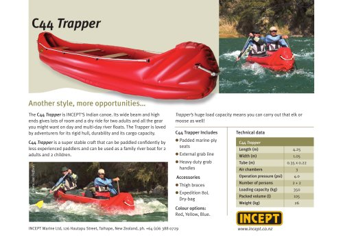 INCEPT C44 Trapper Inflatable Canoe 2+2pers.