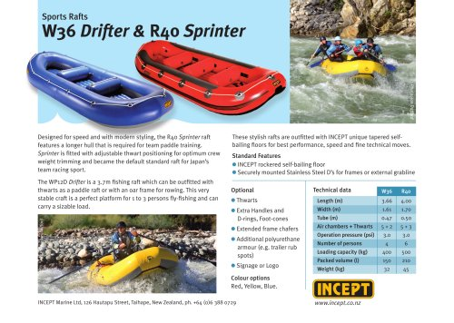 INCEPT W36 Drifter & R40 Sprinter Rafts