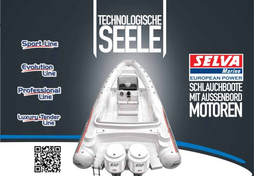 Schlauchboote mit Aussenbord Motoren Kataloge Sport Line, Evolution Line, Professional Line, LuxuryTender Line
