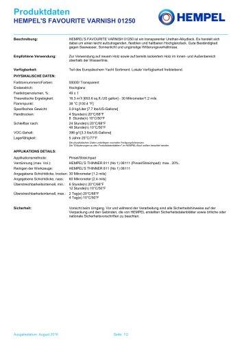 HEMPEL'S FAVOURITE VARNISH 01250