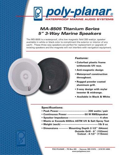 """MA-8505 Titanium Series 5"""" 3-Way Marine Speakers"""