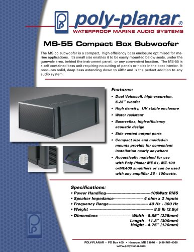 Poly-Planar MS-55 Compact Box Subwoofer