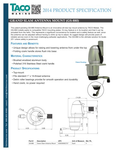 GS-880 Grand Slam Antenna Mount
