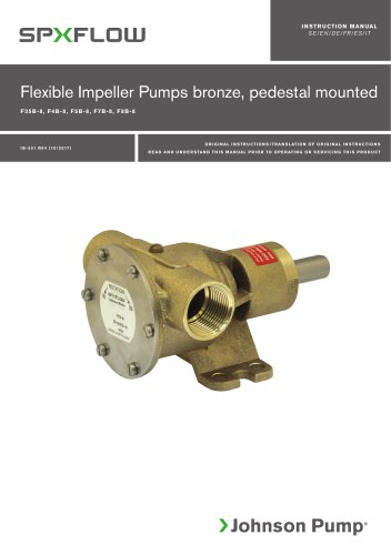 Flexible Impeller Pumps bronze, pedestal mounted F35B-8, F4B-8, F5B-8, F7B-8, F8B-8 manual -EN, DE, ES, FR, IT, SV