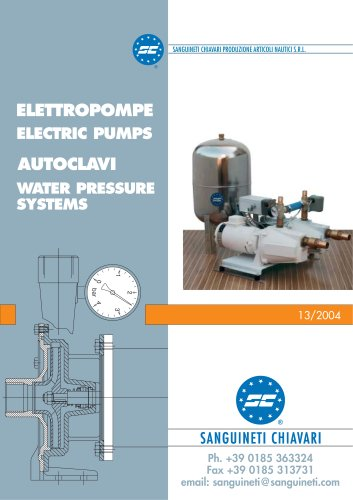 ELECTRIC PUMPS, WATER PRESSURE SYSTEMS