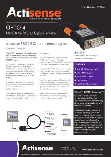 OPTO-4 Opto-Isolator Cable Datasheet