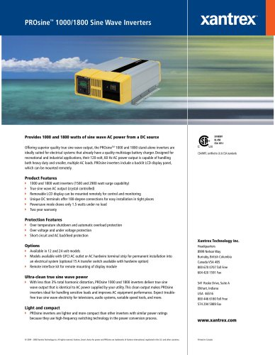 PROsine TM  1000/1800 Sine Wave Inverters