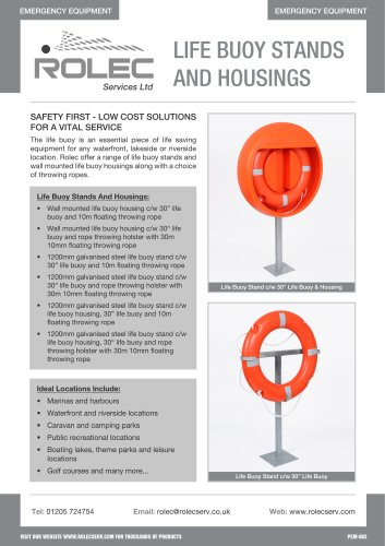 LIFE BUOY STANDS AND HOUSINGS