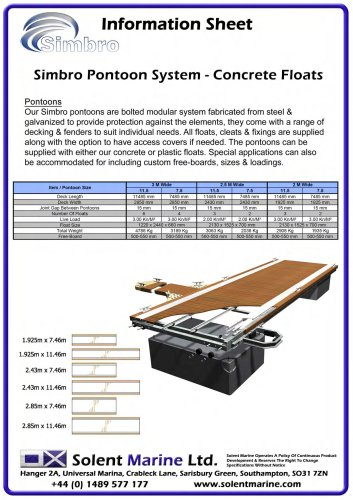 Pontoon and finger specifications