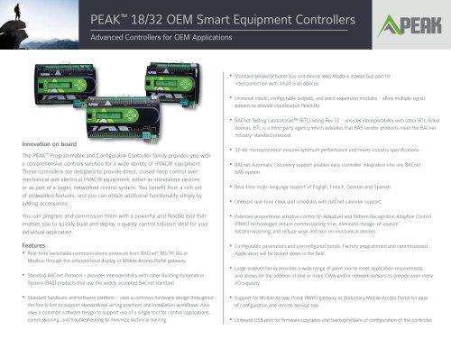 PEAK™ 18/32 OEM Smart Equipment Controllers