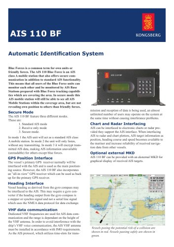 Automatic Identification System (AIS) for ships AIS 110 BF - BLUE FORCE