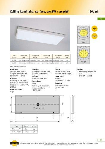 DA16 Ceiling Luminaire, surface, 2x 18 W / 2x 36 W