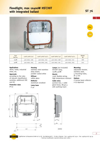 deck floodlight for ships 250-499 W (with incorporated ballast)
