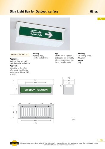 emergency exit sign for ships (outdoor)