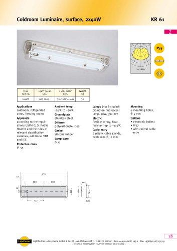 KR61 Coldroom Luminaire, surface, 2x 40 W