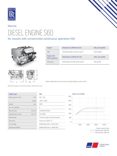 DIESEL ENGINE S60 for vessels with unrestricted continuous operation (1A)