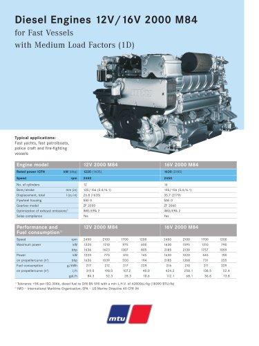 MTU Diesel Engines 12V/16V 2000 M84 for Fast Vessels with Medium Load Factors (1D)