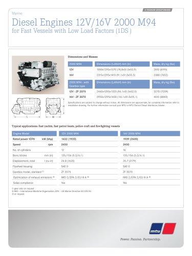 MTU Diesel Engines 12V/16V 2000 M94 for Fast Vessels with Low Load Factors (1DS)
