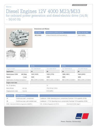 MTU Diesel Engines 12V 4000 M23/M33 for onboard power generation and diesel-electric drive (3A/B) – 50/60 Hz