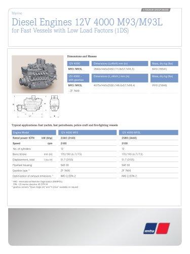MTU Diesel Engines 12V 4000 M93/M93L for Fast Vessels with Low Load Factors (1DS)