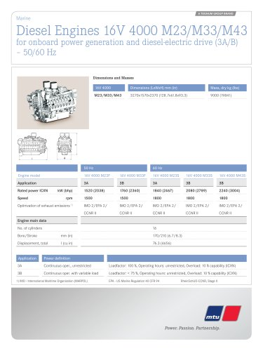 MTU Diesel Engines 16V 4000 M23/M33/M43 for onboard power generation and diesel-electric drive (3A/B) – 50/60 Hz