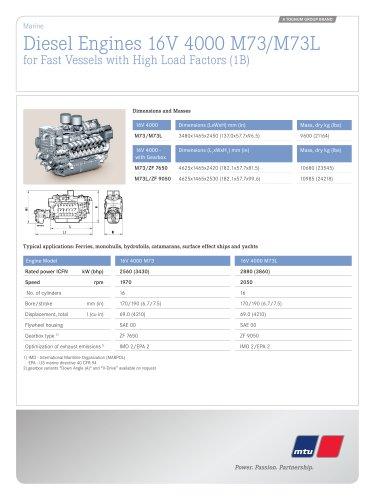 MTU Diesel Engines 16V 4000 M73/M73L for Fast Vessels with High Load Factors (1B)