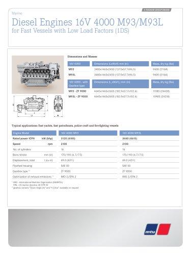 MTU Diesel Engines 16V 4000 M93/M93L for Fast Vessels with Low Load Factors (1DS)