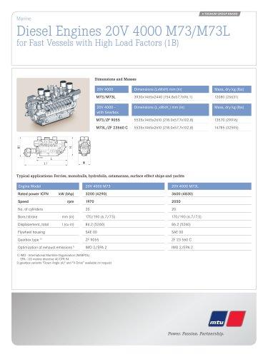 MTU Diesel Engines 20V 4000 M73/M73L for Fast Vessels with High Load Factors (1B)