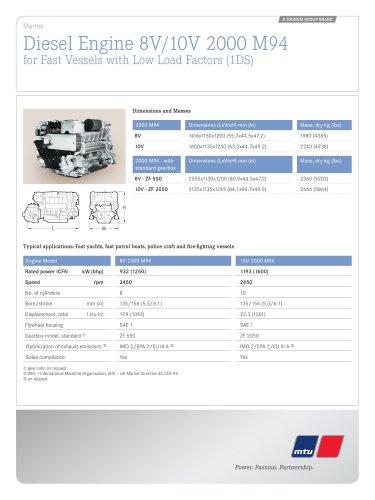 MTU Diesel Engines 8V/10V 2000 M94 for Fast Vessels with Low Load Factors (1DS)