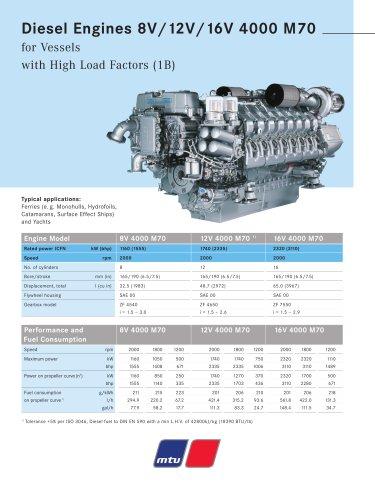 MTU Diesel Engines 8V/12V/16V 4000 M70 for Vessels with High Load Factors (1B)