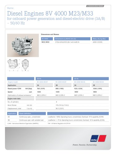 MTU Diesel Engines 8V 4000 M23/M33 for onboard power generation and diesel-electric drive (3A/B) – 50/60 Hz
